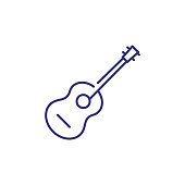 istock Acoustic guitar line icon 1055984886