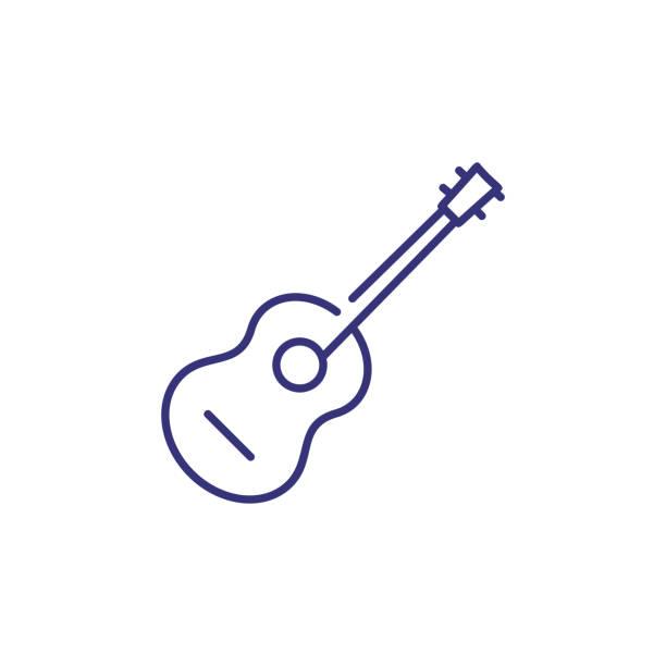 stockillustraties, clipart, cartoons en iconen met pictogram van de lijn van de akoestische gitaar - gitaar