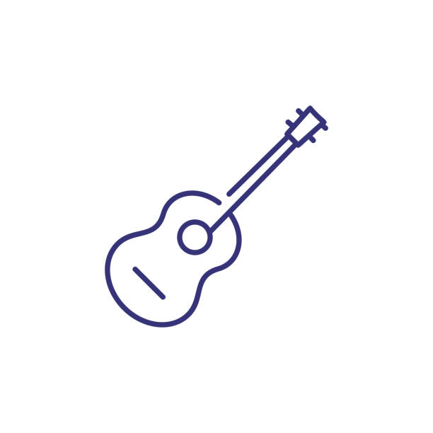 acoustic guitar line icon - gitara stock illustrations