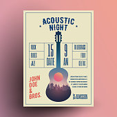 Acoustic Guitar Live Music Night Party Concert Poster or Flyer or Banner Template for your event. Vector Illustration.