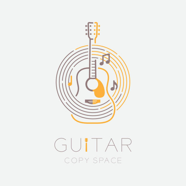 acoustic guitar, music note with line staff circle shape logo icon outline stroke set dash line design illustration isolated on grey background with guitar text and copy space - rytm stock illustrations