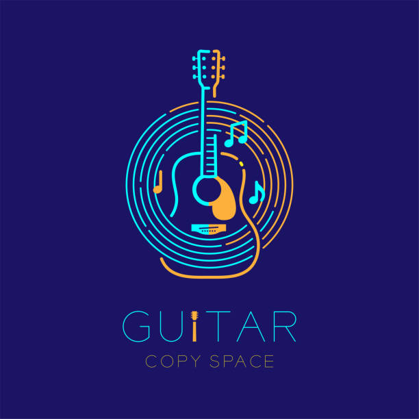 Acoustic guitar, music note with line staff circle shape logo icon outline stroke set dash line design illustration isolated on dark blue background with guitar text and copy space vector art illustration