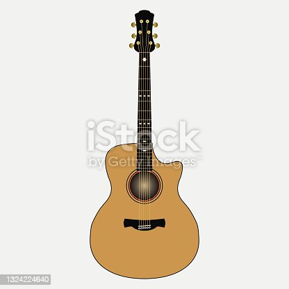istock Acoustic guitar. Realistic stringed musical instrument. Vector 1324224640