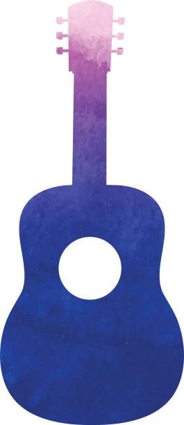Acoustic guitar silhouette watercolor texture vector art illustration