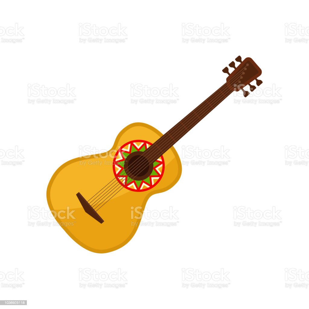 Acoustic Guitar Symbol Of Mexico Vector Illustration On A White