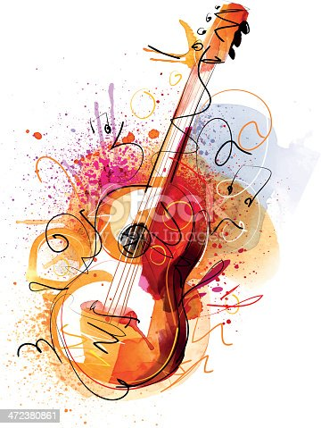 Image shows a guitar with in watercolor-style; vectorimage; only one layer including, wihout opening shapes; big jpeg (300DPI); drawing with graphic tablet;