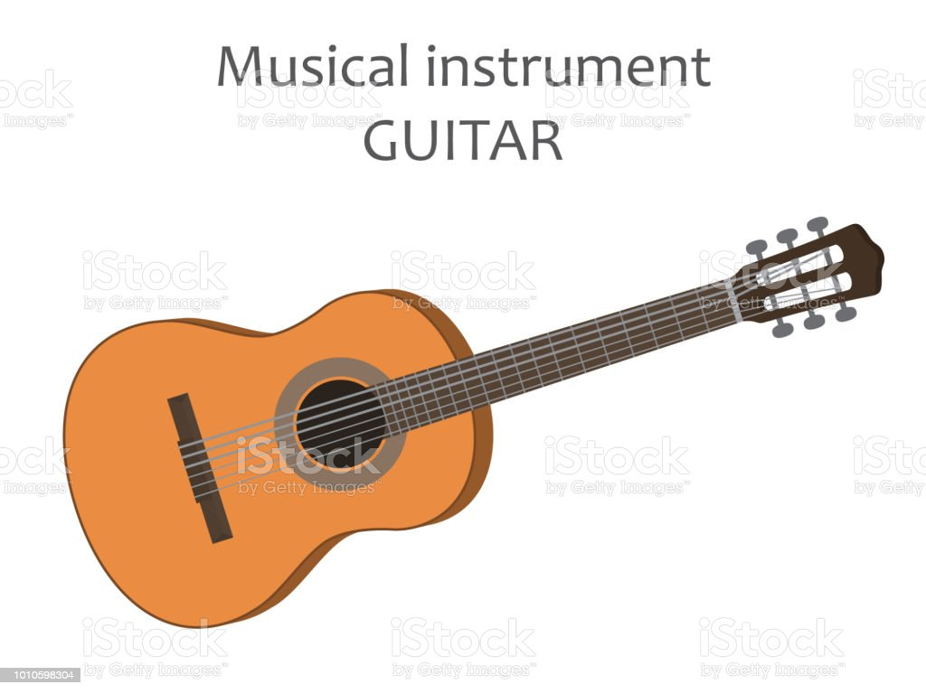 Acoustic Guitar Vector Illustration Of Classical Wooden Guitar In
