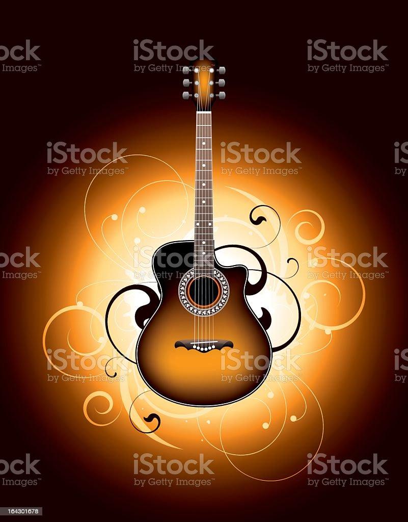 Acoustic guitar vector pattern vector art illustration