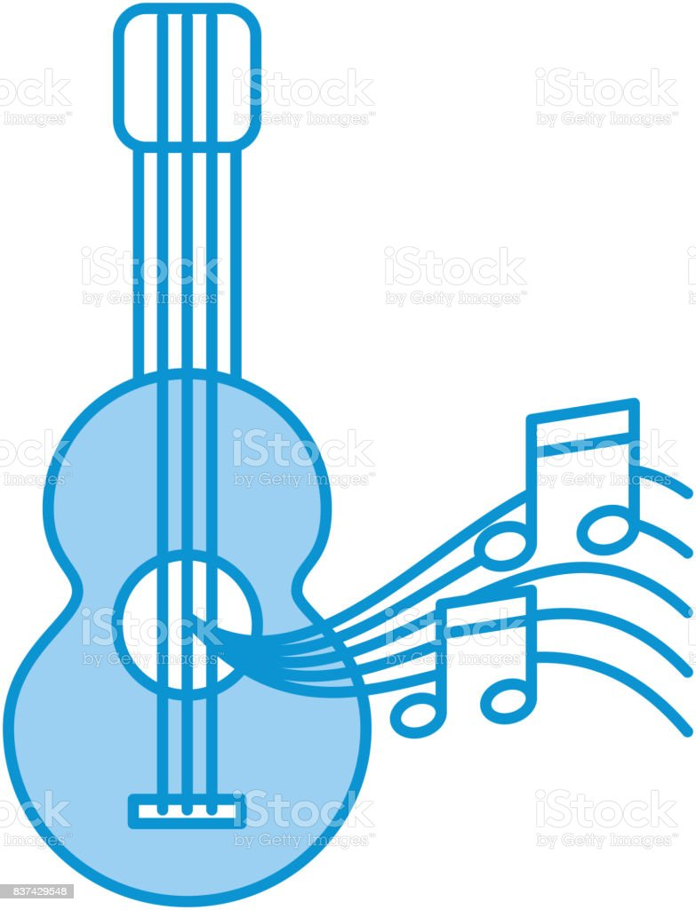 Acoustic Guitar With Music Notes Stock Vector Art More Images Of