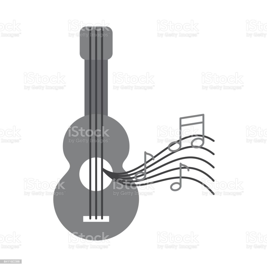 acoustic guitar with music notes stock vector art more images of rh istockphoto com Music Notes SVG White Music Note Vector