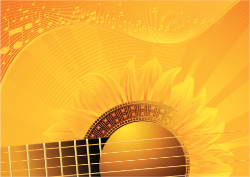 Acoustic Guitar Yellow Background