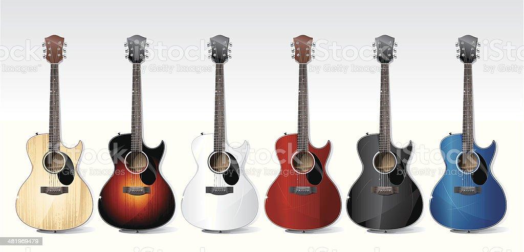 acoustic guitars vector art illustration