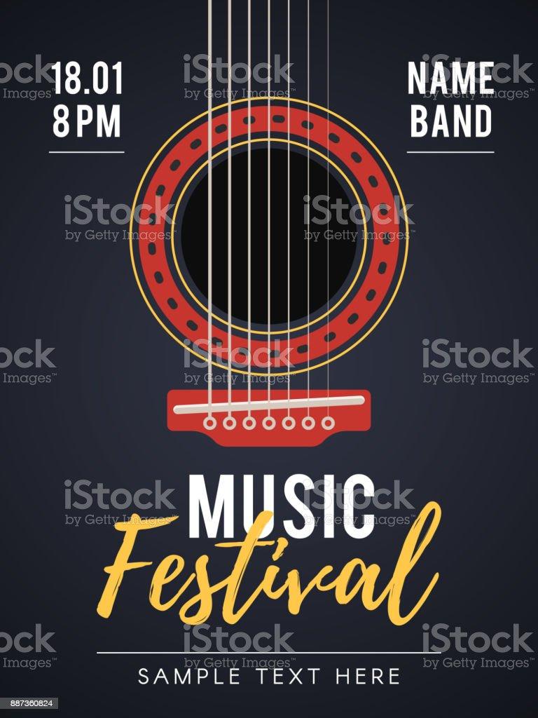 Affiche festival de musique acoustique - Illustration vectorielle
