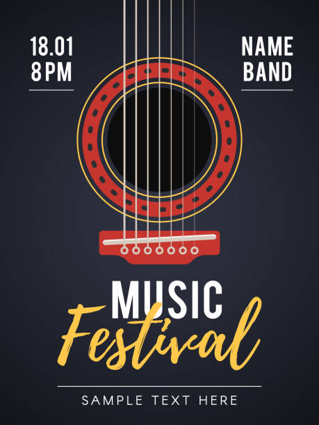acoustic music festival poster - instrument strunowy stock illustrations