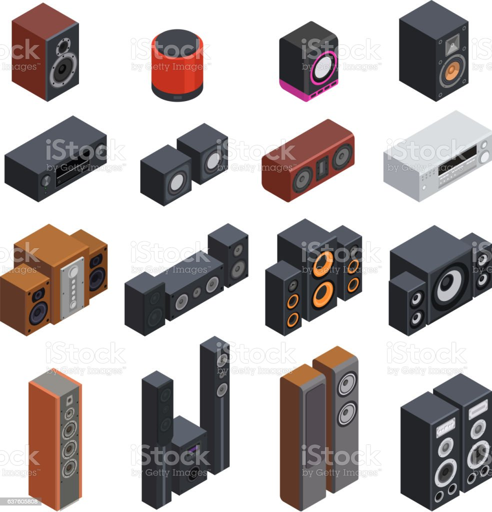 Acoustic systems isometric vector. vector art illustration