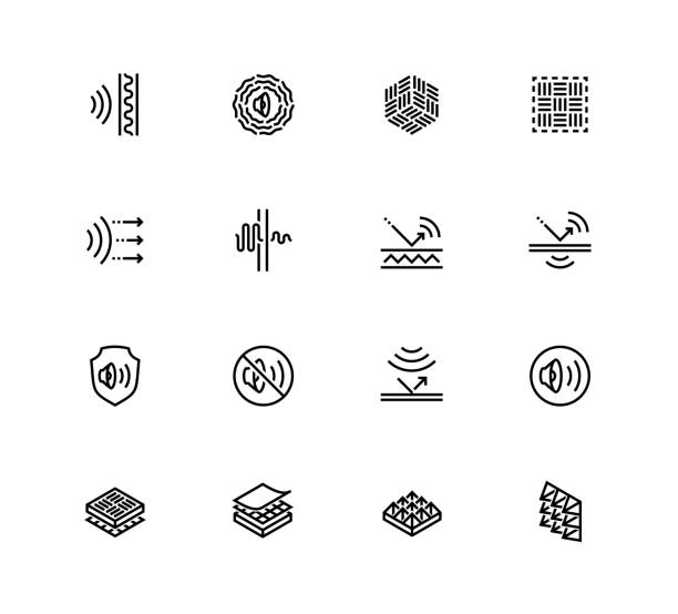 Acoustics and Acoustical Properties of Materials. Vector Icon set in Outline Style Acoustics and Acoustical Properties of Materials. Vector Icon set in Outline Style porous stock illustrations