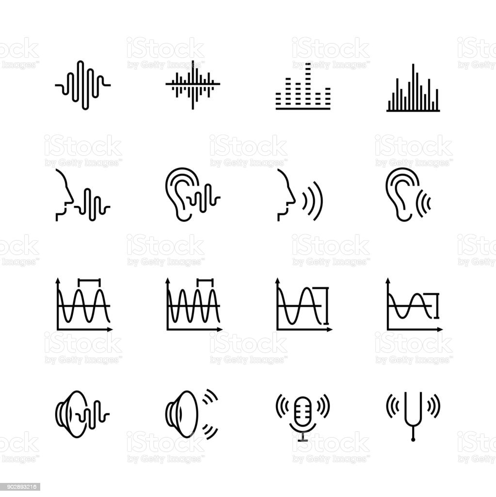 Acoustics and sound vector icon set in thin line style vector art illustration