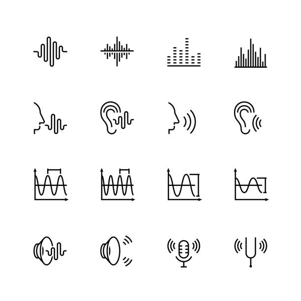 acoustics and sound vector icon set in thin line style - hałas stock illustrations