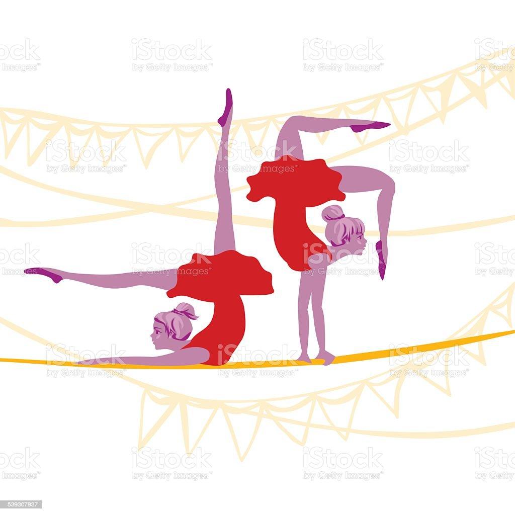acrobat ballerinas exercising vector art illustration