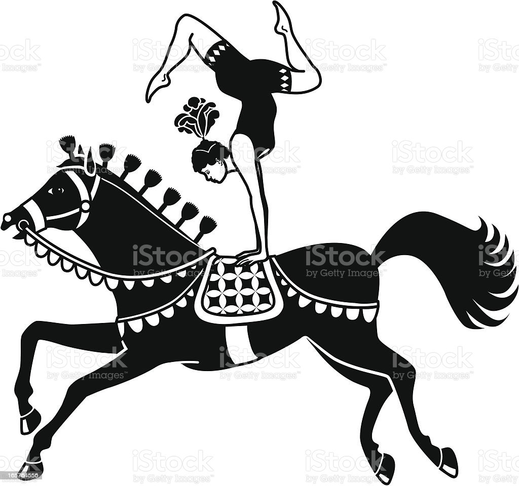 acrobat riding a circus horse vector art illustration