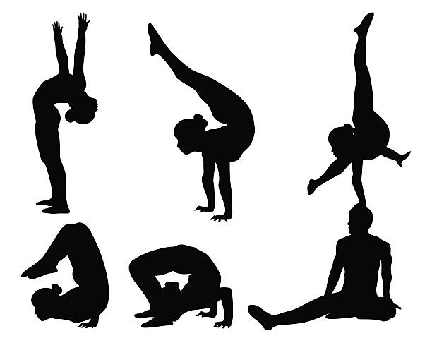 acrobat silhouette collection - gymnastics stock illustrations, clip art, cartoons, & icons