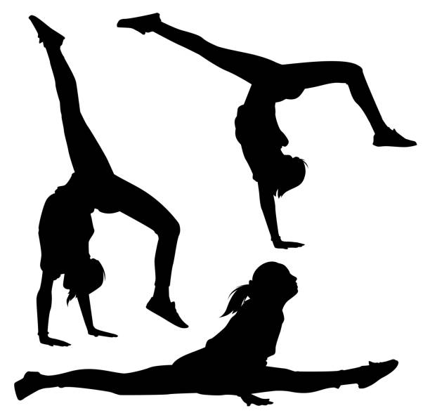 acrobat vector - gymnastics stock illustrations, clip art, cartoons, & icons