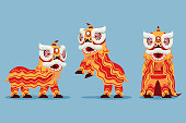Traditional chinese lion dance performance illustration. suitable for chinese new year theme.
