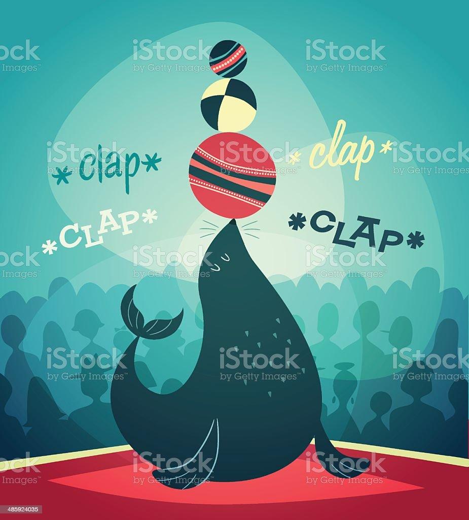 Acrobatic Seal show. Vector illustration. vector art illustration