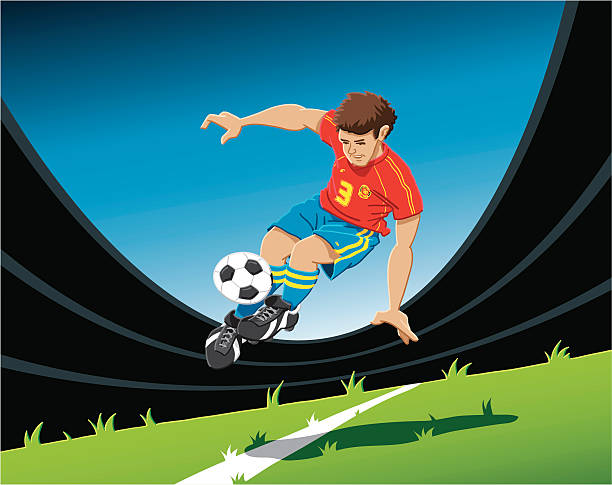 "Acrobatic Soccer Player ""Hand-drawn vector illustration of an acrobatic soccer player, who is up in the air. The illustration is on separate layers, so you also can use the soccer player on your own background. The colors in the .eps-file are ready for print (CMYK). Included files: EPS (v8) and Hi-Res JPG."" sport stock illustrations"
