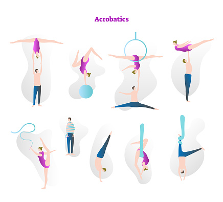 Acrobatics vector illustration icon collection set. Couple performing flexibility, strength and grace in athletic sport. Circus stunt tricks with rope, hoop and ball.