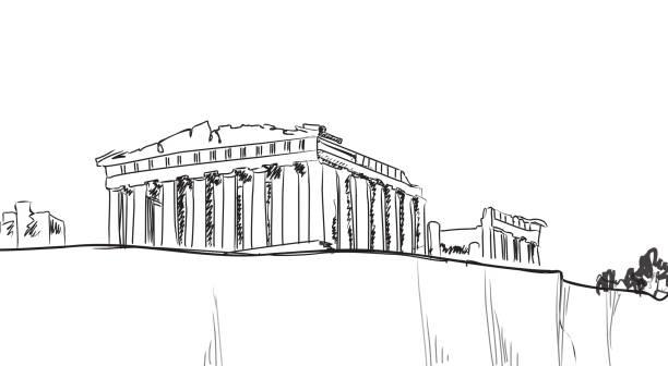 Acropolis Hill in Athens. Hand drawn landmark - ancient greece ancient greece stock illustrations