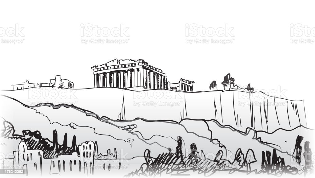 Acropolis Hill in Athens. vector art illustration