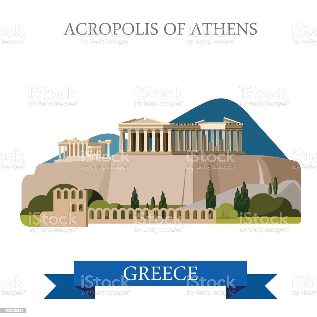 Akropolis Von Athen Antike Denkmal In Griechenland Flache Cartoon ...