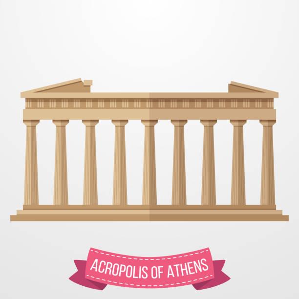 stockillustraties, clipart, cartoons en iconen met akropolis van athene pictogram op witte achtergrond - athens
