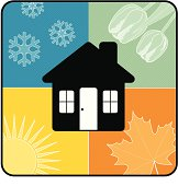A home surrounded by the four seasons.  This image contains both Adobe Illustrator and EPS images.