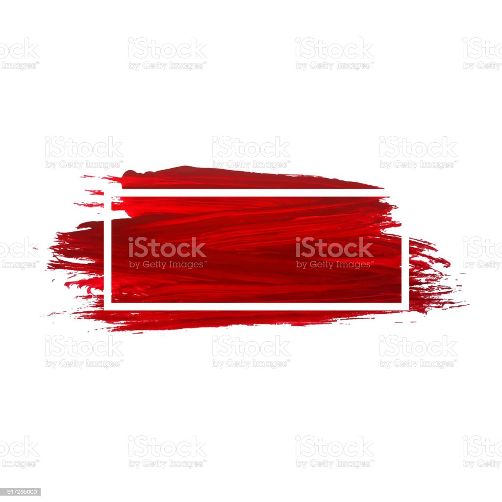 Acrylic Brush Texture Background Red Acrylic Paint Banner With Frame For  Decoration Stock Illustration - Download Image Now