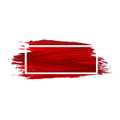 Acrylic brush texture background. Red acrylic paint banner with frame for decoration