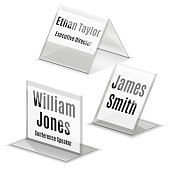 Acrylic business card name plate holder on white
