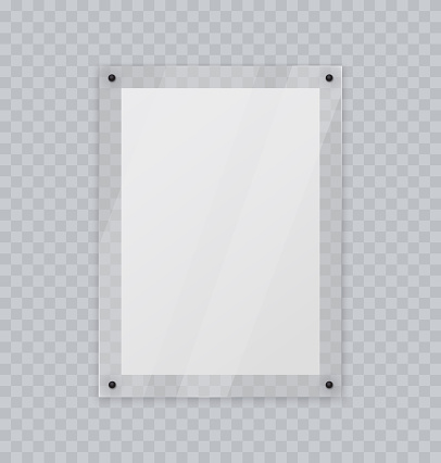 Acrylic glass frame, plastic frame for poster of photo, realistic mockup isolated hanging on transparent wall. White blank paper banner on plexiglass display, 3d vector illustration.