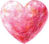 Vector illustration of pink heart.