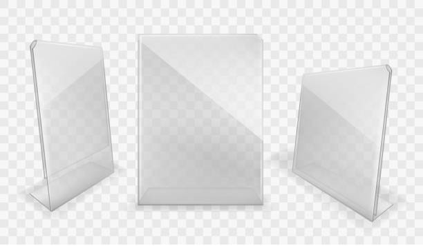 Acrylic table displays, plastic glass card holders Acrylic table displays set, glass or plastic card holders isolated on transparent background. Empty plexi stands mock up. Clear plexiglass tag mockup, photo frame Realistic 3d vector illustration cartable stock illustrations