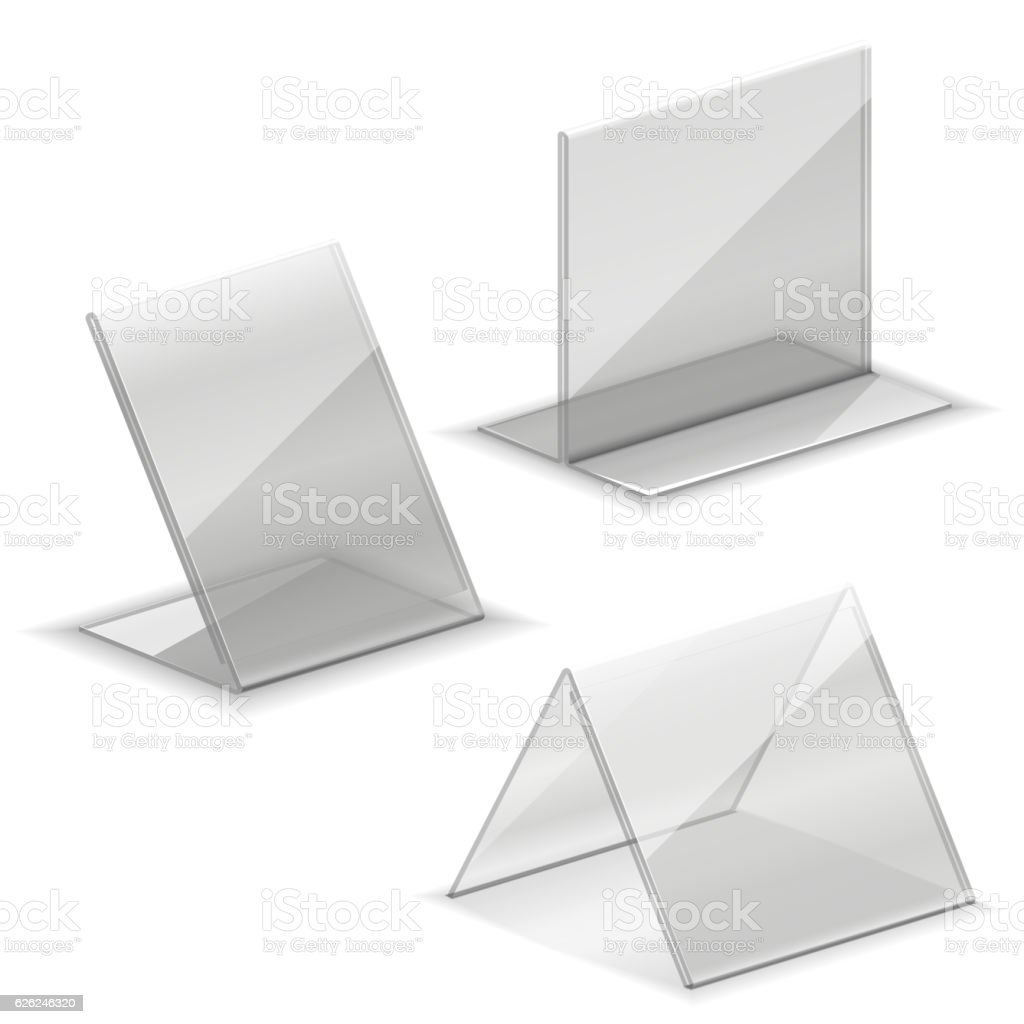 Acrylic vector empty plastic holder for business card vector art illustration