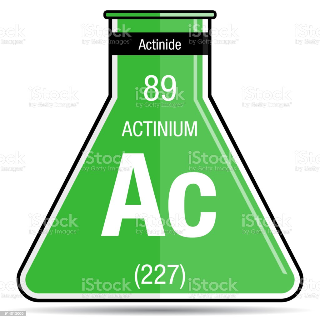 Actinium Symbol On Chemical Flask Element Number 89 Of The Periodic