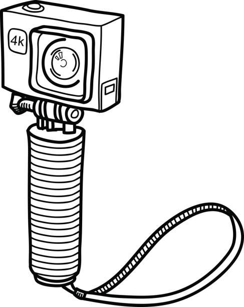 stockillustraties, clipart, cartoons en iconen met actie camera doodle kleine compacte camera - gopro