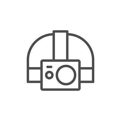 Action camera head strap line icon