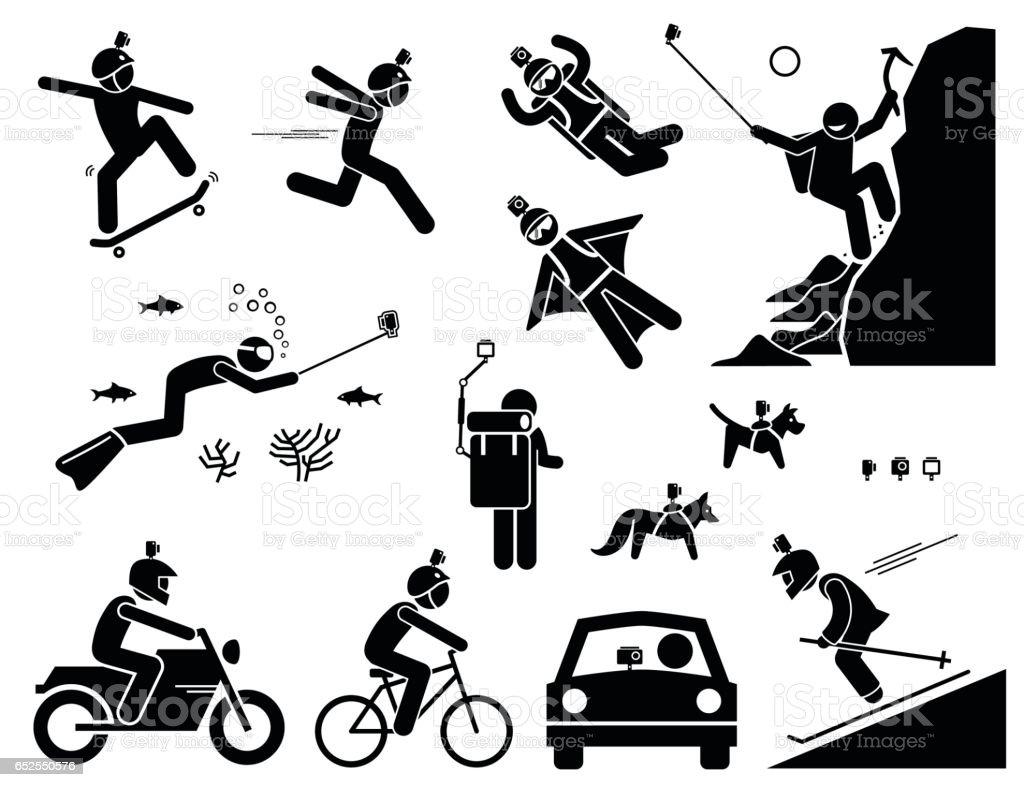 Action Camera Headset. vector art illustration