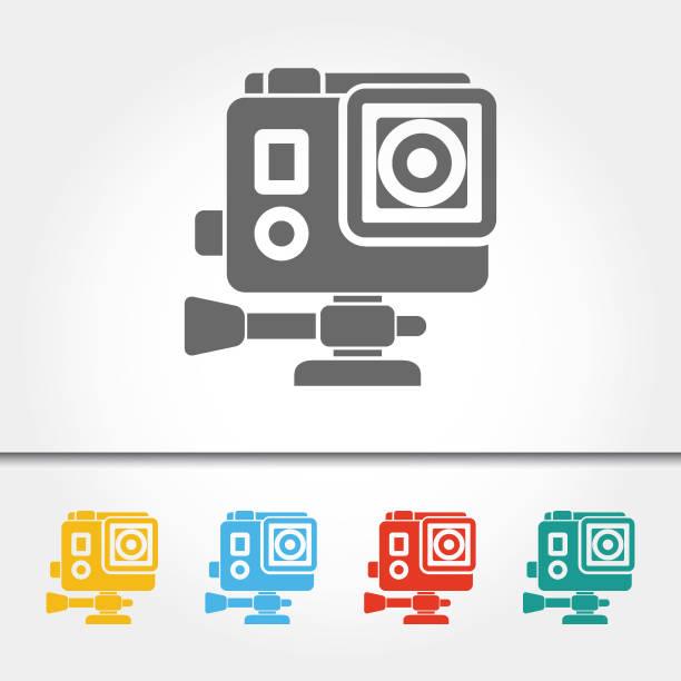 stockillustraties, clipart, cartoons en iconen met actie camera pictogram vectorillustratie - gopro