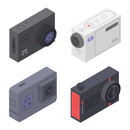Action camera icons set, isometric style