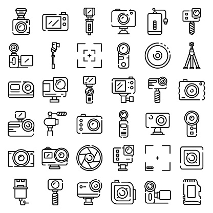 Action camera icons set, outline style