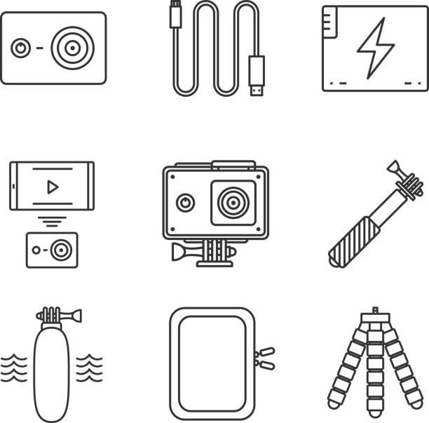 stockillustraties, clipart, cartoons en iconen met de pictogrammen van de camera van de actie - gopro